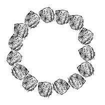 Een cirkel met aaneengesloten briketten die elkaar aan de zijkant raken.